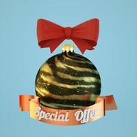 Oferta especial de bolas de Navidad ilustración aislada sobre fondo azul 3D Render foto