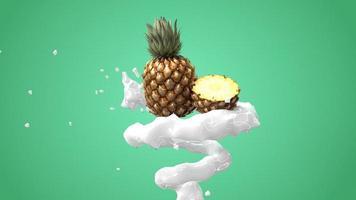 Piña con salpicaduras de líquido en fondo verde 3D Render foto