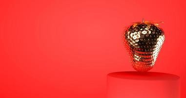 Golden strawberry in red background 3d render photo