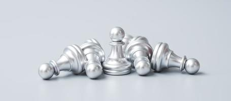silver Chess pawn figure stand out from crowd of enermy or opponent. Strategy, Success, management, business planning, disruption, win and leadership concept photo