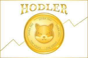 Shiba inu coin crypto currency hodler vector