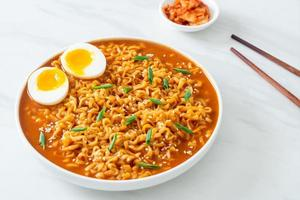 Korean instant noodles with egg photo