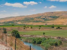 Landscape of country area of northern Israel of Jordan Valley photo