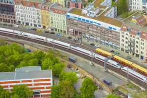 Aerial view of Berlin skyline with S-Bahn tracks rapid train and photo