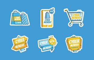 conjunto de pegatinas oferta especial cyber monday con gran venta vector