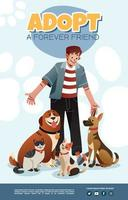 A Man And The Surrounding Pets Poster vector