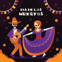 Dia De Los Muertos Day Of The Dead Skeletons Dancing And Playing Guitar vector