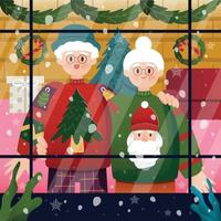 Elderly Couple Wearing Ugly Christmas Sweater Background Template vector