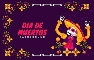 skeleton dances prancing and raises hands in Mexican dress vector