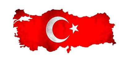 Map of Turkey and national flag symbols, White Background. photo