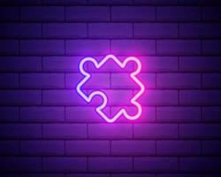 Glowing neon line Piece of puzzle icon isolated on brick wall background. Modern flat, business, marketing, finance, internet concept. Colorful outline concept. Vector
