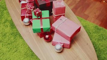 Christmas gift box on the table . video