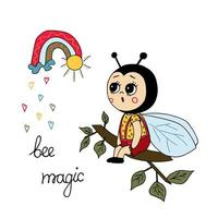Cartoon bee and magic rainbow. Vector illustration hand drawing. Use this clipart to create baby shower invites, nursery art.