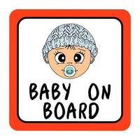 Baby  on board red square car sign safety, . Hand drawn illustration, cartoon, vector, isolated. vector