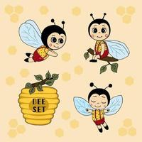 Cartoon set bees and hives. Vector illustration hand drawing. Use this clipart to create baby shower invites, nursery art, birthday , greeting cards, children's clothing.