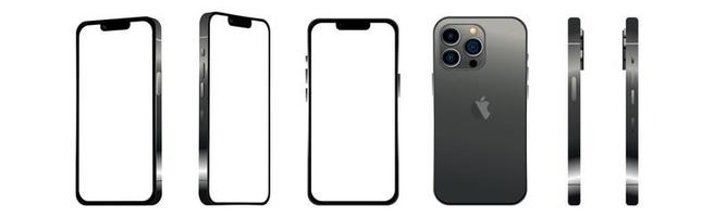Black modern smartphone mobile iPhone 13 PRO in 6 different angles on a white background - Vector