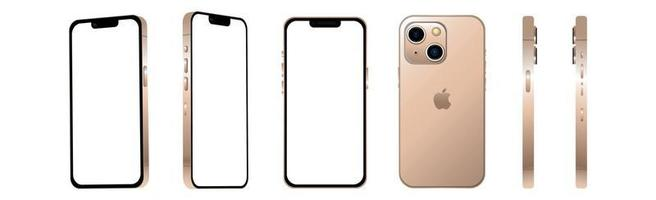Golden modern smartphone mobile iPhone 13 MINI in 6 different angles on a white background - Vector