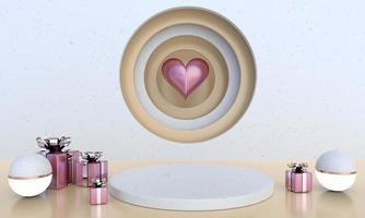 Valentine's Day interior with pedestal, hearts. Stand, podium, pedestal for goods. Love greeting card. 3d photo