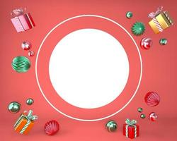 Christmas frame made of festive decorations, gift boxes. Christmas background. 3d rendering. photo