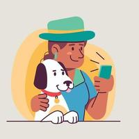 people with pet flat design vector illustration