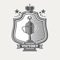 trophy cup champion label vector illustration