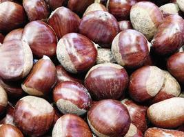 Chestnuts on wooden background video