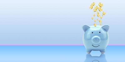 monedas volando y flotando a la alcancía para ahorro financiero creativo un concepto de depósito con espacio de copia, negocios o finanzas ahorro de dinero, finanzas y banca monedas publicitarias foto