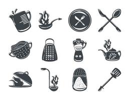 set of cooking utensils and cutlery include blender spatula fork and spoon vector