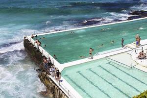 SYDNEY, AUSTRALIA, JANUARY 21, 2017 - Unidentified people at Bondi Baths in Sydney, Australia. It is a tidal pool opened at 1929. photo