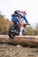 SOKO BANJA, SERBIA, OCTOBER 20, 2018 - Unidentified driver at Hard Enduro Race in Soko Banja, Serbia. This moto offroad race took place at October 20-21, 2018. photo