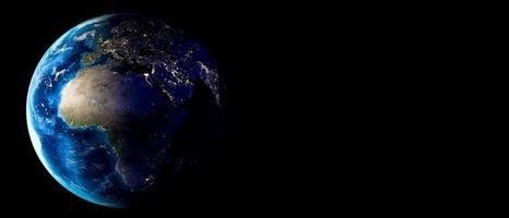 Planet Earth with clouds, Europe and Africa. Copy space. 3d Render photo