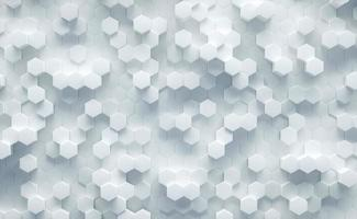 3D Illustration. White geometric hexagonal abstract background. Futuristic and technology concept. photo