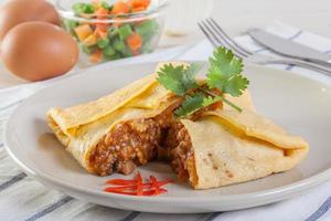 omelet with vegtable salad photo