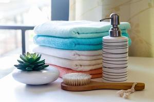 stack bath towels photo