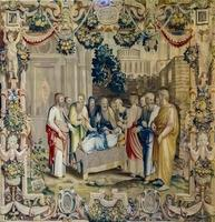 Como, Italia, 16 de abril de 2019 - Detalle del tapiz de la Catedral de Como en Italia. como catedral es la catedral católica romana inaugurada en 1396. foto