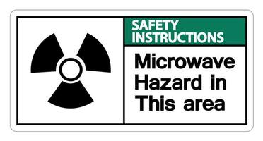 Safety instructions Microwave Hazard Sign on white background vector