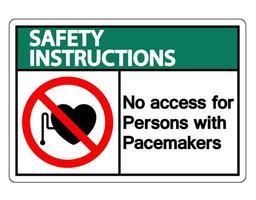 Instrucciones de seguridad sin acceso para personas con signo de símbolo de marcapasos sobre fondo blanco. vector