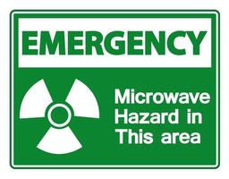 Emergency Microwave Hazard Sign on white background vector