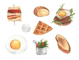 Watercolor painted collection of Different types of morning breakfast sets. vector