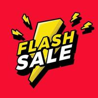 Ultra Dynamic 3D Flash Sale Sign with Bright Yellow Lightening Bolt. vector