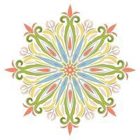 Vector colored mandala. Decorative ornamental round element in boho style. Indian, tibetan, ottoman motifs. Oriental symbol of balance and harmony.
