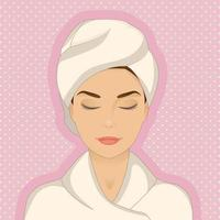Portrait of beautiful woman wearing bathrobe, towel on her head, eyes closed, relaxing vector