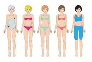 Vector set of 5 women in assorted swimwear, sportswear and underwear. Standing full body, front, isolated on white. Female body in good shape. Cute cartoon style.