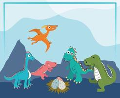 funny dinosaurs in the land vector