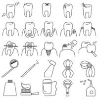 Dentistry outline icons set, symbolic image of teeth, their diseases and procedures for the treatment and care of teeth and oral cavity vector