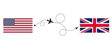 Flight and travel from USA to United Kingdom of Great Britain by passenger airplane Travel concept vector