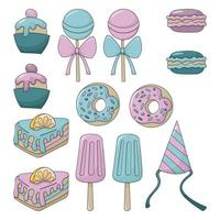 Sweets set. Colorful cartoon illustration. Isolated on white background. vector
