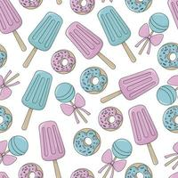 Sweets seamless pattern. Colorful cartoon illustration on white background. vector