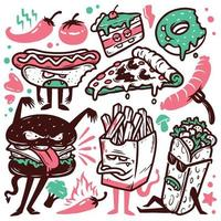 Set of food doodle illustrations vector