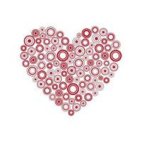 Red heart of the rings. Happy Valentines day card with abstract heart. Be my Valentine background. vector illustration